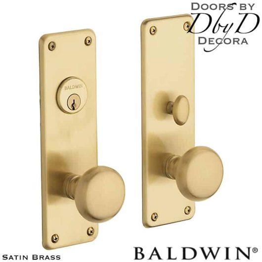 Baldwin satin brass reading entrance trim.