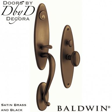 Baldwin satin brass and black springfield handleset.