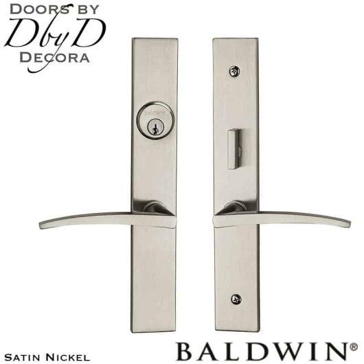 Baldwin satin nickel santa monica entrance trim.