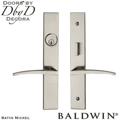 Baldwin satin nickel santa monica entrance trim.