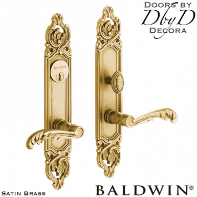 Baldwin satin brass versailles entrance trim.