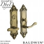 Baldwin satin brass and black westminster entrance trim.
