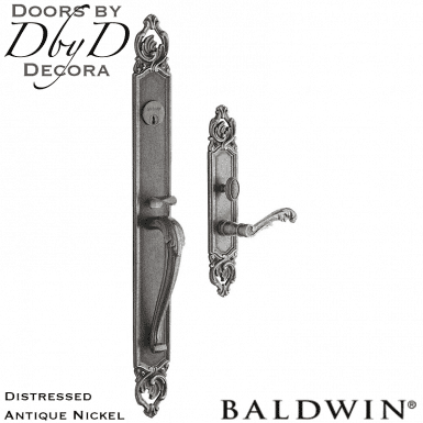 Baldwin distressed antique nickel victoria handleset.