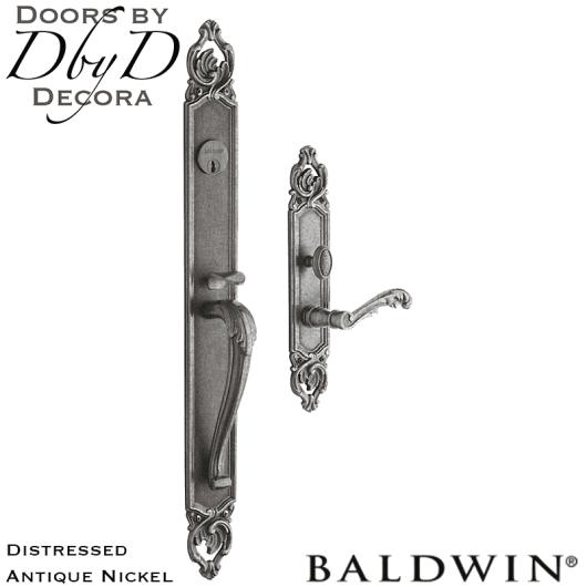 Baldwin distressed antique nickel victoria handleset.