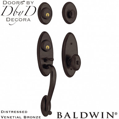 Baldwin distressed venetian bronze landon two-point handleset.
