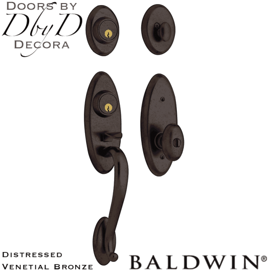 Baldwin distressed venetian bronze landon two-point handleset.