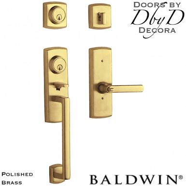 Baldwin polished brass soho two-point handleset.