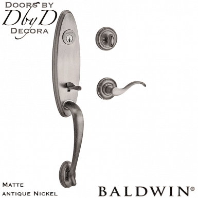 Baldwin reserve matte antique nickel chesapeake handleset.