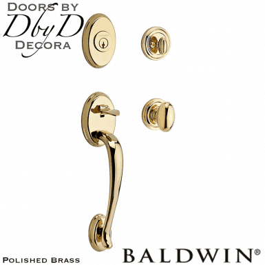 Baldwin reserve polished brass columbus handleset.