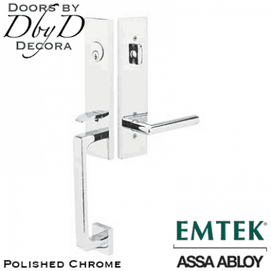 Emtek polished chrome davos handleset.