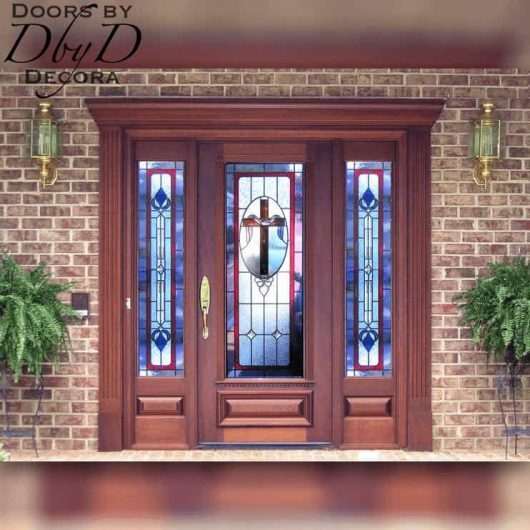 Door and two side lites with custom church stained glass.