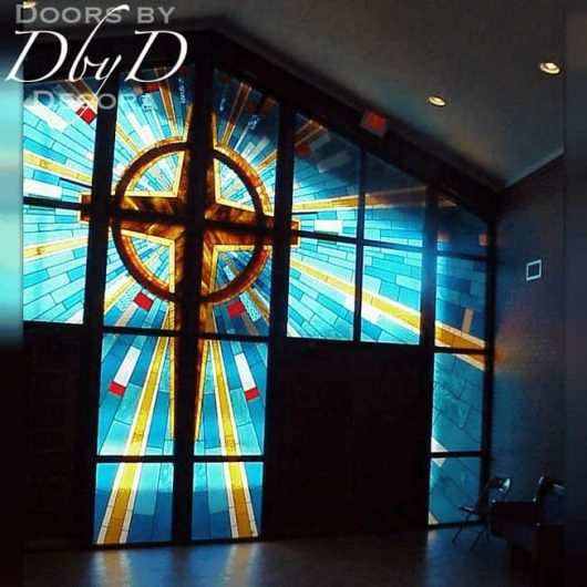 A close up look at the stained glass in this church entrance.