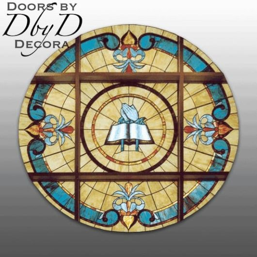 Extra large rosette style church stained glass window with large hand painted piece in the center.