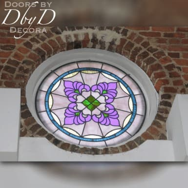 Rosette style church stained glass window.
