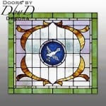 Church stained glass window depicting a hand painted medallion with a dove.
