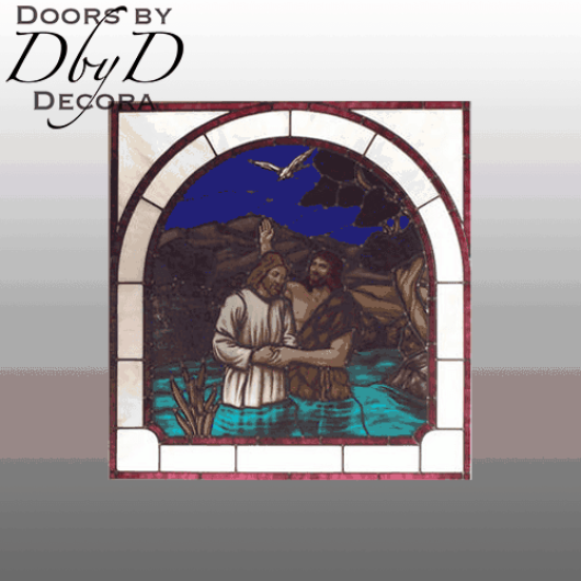 Church stained glass window with a large hand painted scene showing John baptizing Christ.