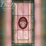 Church stained glass window with dedication area and a hand painted center medallion.