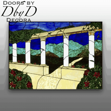 A beautiful landscape scene done in stained glass.
