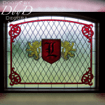 A beautiful stained glass window with custom hand painted glass.