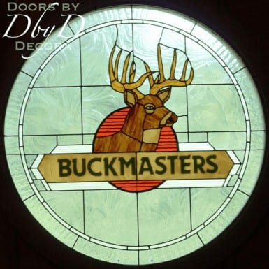 A company logo represented in stained glass.