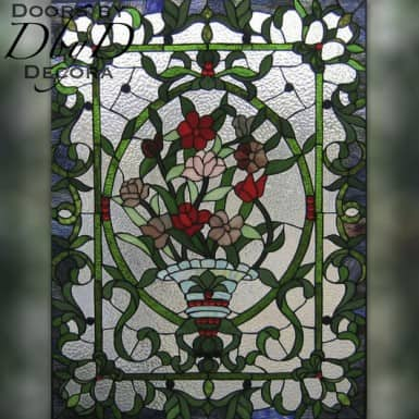 A beautiful floral piece of stained glass.