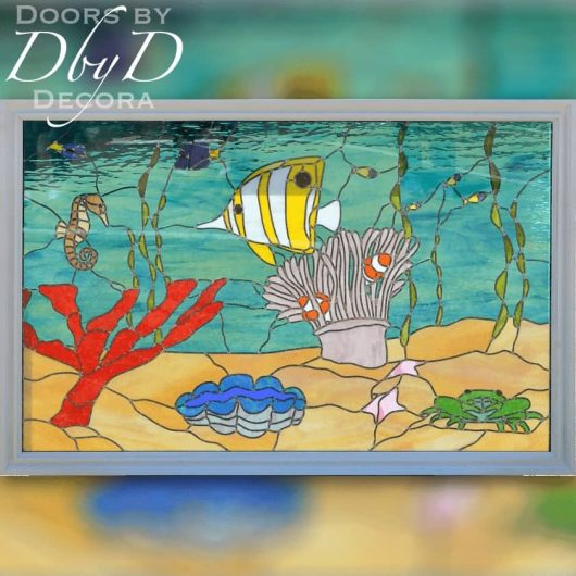 An aquarium scene done in stained glass.