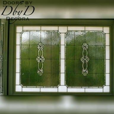 A large leaded glass window.