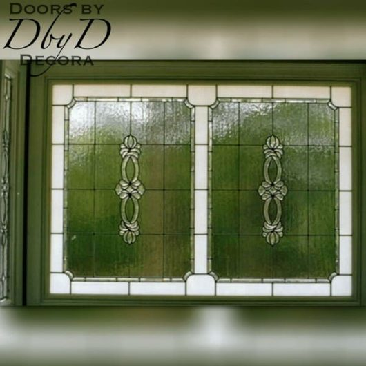 A large leaded glass window.