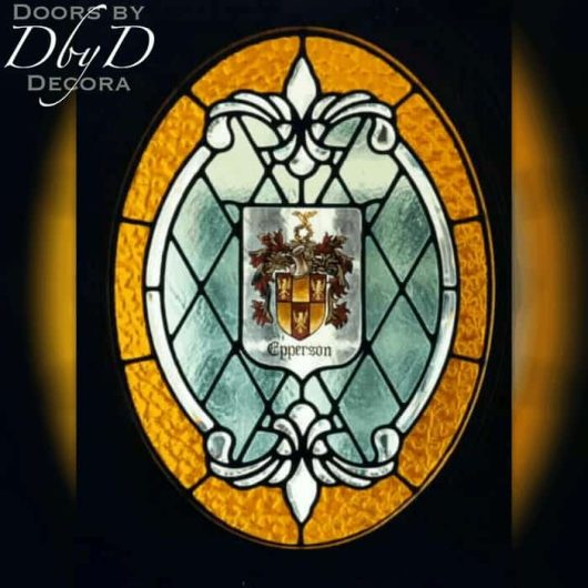 Stained glass window with a custom painted family crest.