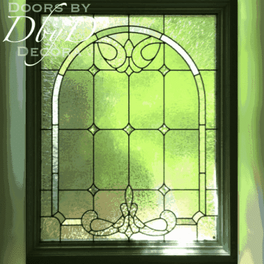 A traditional leaded glass window.