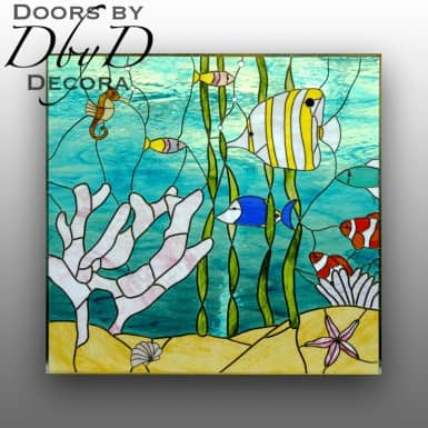 Salt water fish and coral are shown in this stained glass piece.
