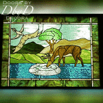A custom piece of stained glass with a deer and scripture.