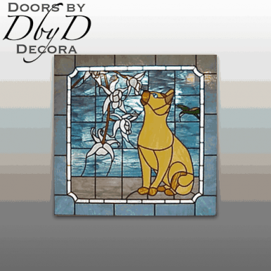 A cat immortalized in stained glass.