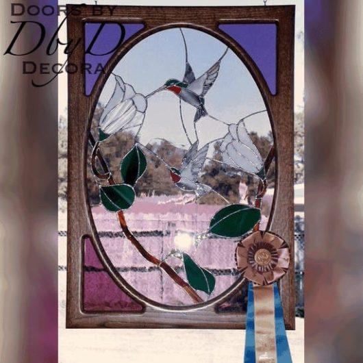 An award winning hummingbird piece of stained glass.