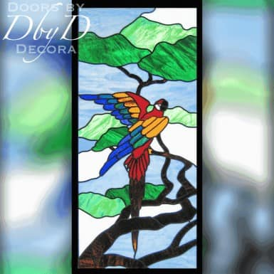 A colorful parrot done in stained glass.