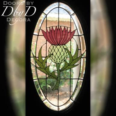 A Scottish thistle done in stained glass.