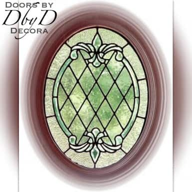 Small oval leaded glass window.