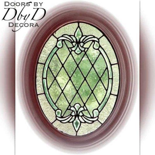 Small oval leaded glass window.