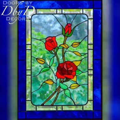 Rectangular rose stained glass window.