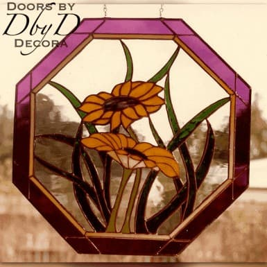 A unique octagonal piece of stained glass.