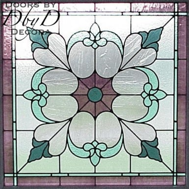 Large floral piece of stained glass.