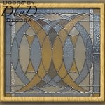 Abstract piece of square stained glass.