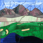 This piece of stained glass features a golf course and a mountain range.