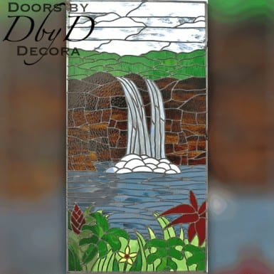 A waterfall is depicted in this custom piece of stained glass.