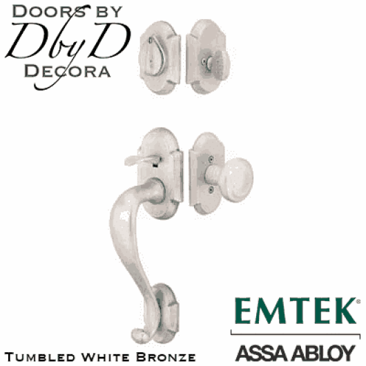 Emtek tumbled white bronze denver handleset.