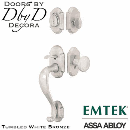 Emtek tumbled white bronze denver handleset.