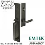 Emtek oil rubbed bronze lausanne handleset.
