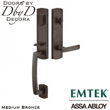 Emtek medium bronze logan handleset.