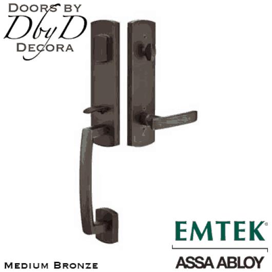 Emtek medium bronze logan handleset.