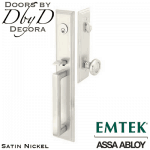 Emtek satin nickel melrose handleset.